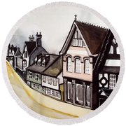 High Street Of Stamford In England Round Beach Towel by Dora Hathazi Mendes