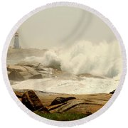 High Surf After A Hurricane Crashing On The Rocks At Peggy's Cove, Nova Scotia, Canada Round Beach Towel