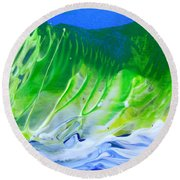 Round Beach Towel featuring the painting High Surf by Fred Wilson