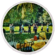 High Tea Tai Chi Round Beach Towel