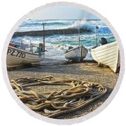 Round Beach Towel featuring the photograph High Tide In Sennen Cove Cornwall by Terri Waters