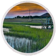 High Tide On The Creek - Mt. Pleasant Sc Round Beach Towel