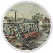 High Water On The Mississippi, 1868  Round Beach Towel