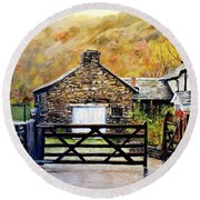 Round Beach Towel featuring the painting High Yewdale Farm by Alan Lakin