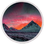 Highland Afterglow Round Beach Towel