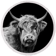 Highland Coo Round Beach Towel by Linsey Williams