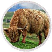 Highland Cow Round Beach Towel