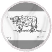 Round Beach Towel featuring the drawing Highland Cow Field Sketch by Dawn Senior-Trask