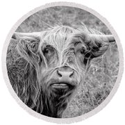 Highland Cow Round Beach Towel