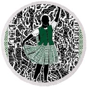 Round Beach Towel featuring the digital art Highland Dancing by Darren Cannell