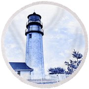 Round Beach Towel featuring the photograph Highland Lighthouse Cape Cod Blue by Marianne Campolongo