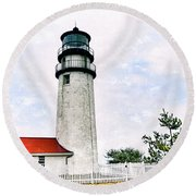Highland Lighthouse Cape Cod Round Beach Towel