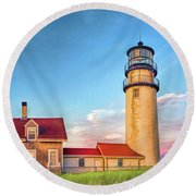 Round Beach Towel featuring the painting Highland Lighthouse by Christopher Arndt