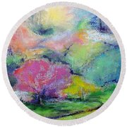 Round Beach Towel featuring the painting Highland Park In Spring by Jodie Marie Anne Richardson Traugott          aka jm-ART