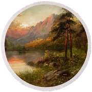 Highland Solitude Round Beach Towel