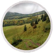 Highlands Landscape In Pieniny Round Beach Towel