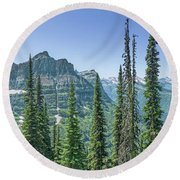 Highline Trail Panoramic - Glacier National Park Round Beach Towel