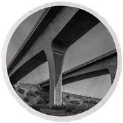 Highway 52 Over Spring Canyon, Black And White Round Beach Towel