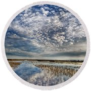 Highway In The Clouds Round Beach Towel
