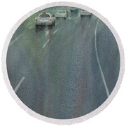 Highway On The Rain02 Round Beach Towel