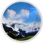 Round Beach Towel featuring the photograph Highway Through The Andes - Painting by Al Bourassa