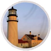 Round Beach Towel featuring the photograph Higland Lighthouse Cape Cod by Roupen  Baker