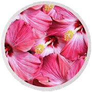 Hiiscus Collage Round Beach Towel