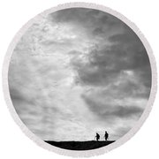 Hikers Under The Clouds Round Beach Towel