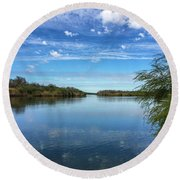 Hiking Along The Rio Grande In South Texas Round Beach Towel