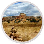 Round Beach Towel featuring the photograph Hiking Ghost Ranch New Mexico by Kurt Van Wagner