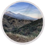 Hiking Johnson's Pasture Round Beach Towel