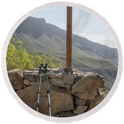 Hiking Poles Resting Near Sign Round Beach Towel by Patricia Hofmeester