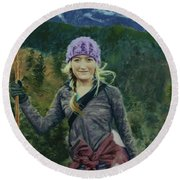 Hiking The White Mountains Round Beach Towel