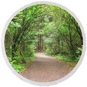 Hiking Trail Along Lewis And Clark River Round Beach Towel