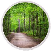 Round Beach Towel featuring the photograph Hiking Trail In Green Forest by Elena Elisseeva