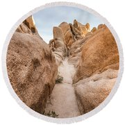 Hiking Trail In Joshua Tree National Park Round Beach Towel by Joe Belanger