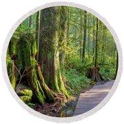 Hiking Trail Through Forest In Lynn Canyon Park Round Beach Towel