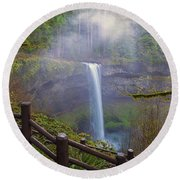 Hiking Trails At Silver Falls State Park Round Beach Towel
