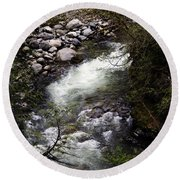 Hiking Wallace Falls#1 Round Beach Towel
