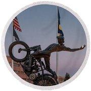 Hill Climber Catches The Moon Round Beach Towel by Randy Scherkenbach