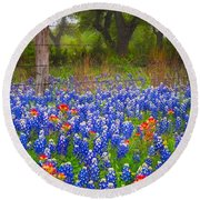 Hill Country Forest Round Beach Towel