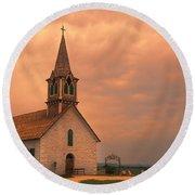 Hill Country Sunset - St Olafs Church Round Beach Towel