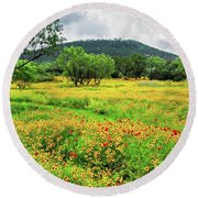 Hill Country Wildflowers Round Beach Towel by Lynn Bauer