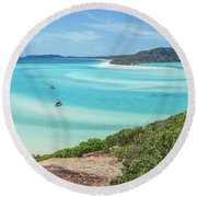 Hill Inlet Lookout Round Beach Towel by Az Jackson