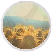 Hill Top Sunset  Round Beach Towel