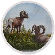 Hill Top View Round Beach Towel