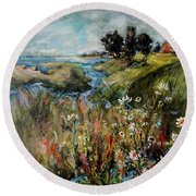 Hill Top Wildflowers Round Beach Towel by Sharon Furner