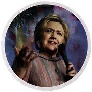 Hillary Clinton 01 Round Beach Towel by Gull G