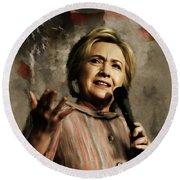 Hillary Clinton 02 Round Beach Towel by Gull G
