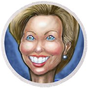 Hillary Clinton Caricature Round Beach Towel
